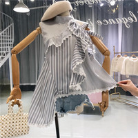 French Style Girls' Summer Shirt 2018 New Fashion Women 's Sleeveless Blouse Ladies Ruffles Stripe Shirts Tops Blusas
