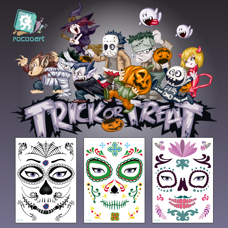 21 15 cm New Halloween Face Makeup and Terror Mask Design Temporary Waterproof Tattoo for Men and Women in Temporary Tattoos from Beauty Health