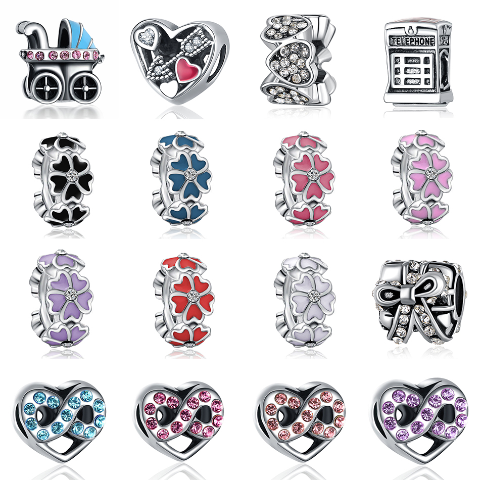 Silver Plated Openwork Enamel Struck By Love Daisy Flower With Crystal Spacer Bead Charm Fit Pandora Bracelet Bangle DIY Jewelry