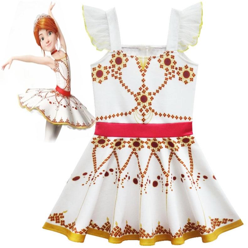 Movie Ballerina Felicie Cosplay Costume for Girls Dress Halloween Costume for Kids Sleeveless Dress