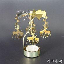 Металлический подсвечник, вращающийся, Романтический, вращающийся, вращающийся, карусель, чайный светильник, подсвечник, Рождественский олень, светильник, домашний, вечерние, Декор