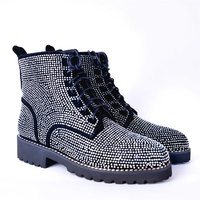 Осенне зимние женские ботинки «Мартенс», высокое качество, ткань, блестящие, красиво украшенные, удобные ботинки, женская обувь, size33 43