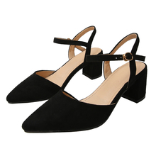 Women High Heel Sandals Pointed Toe Shoes Womens Lady Flock Leather Quality Brand Big Size 32-40  YY0038