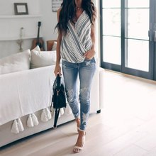Cotton Ladies Casual Loose Soft Sleeveless Tops Women Summer Sexy Sling Vest V-Neck Stripe Printing Camis 2019