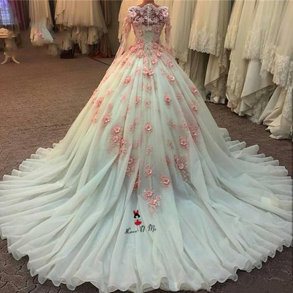 Pink Wedding Dresses With Sleeves: Luxury Vestidos De Noiva Ball Gown Wedding Dresses Long