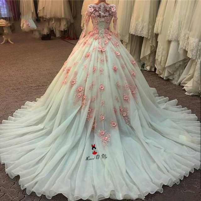 Luxury vestidos de noiva ball gown wedding dresses long sleeve lace luxury vestidos de noiva ball gown wedding dresses long sleeve lace wedding gowns pink 3d flowers junglespirit Images