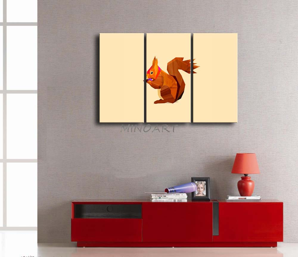 3 Piece Wall Art Painting Gray Background Like A Yellow Brown ...