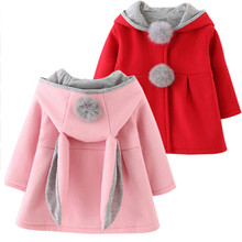 Girls Coat Cute Rabbit Ear Hooded New Spring Top Autumn Winter Warm Kids Jacket Outerwear Children Clothing Baby Wear Girl Coats 2017 winter new girls baby winter coat fake fure thickening hooded waist coats jacket children outerwear