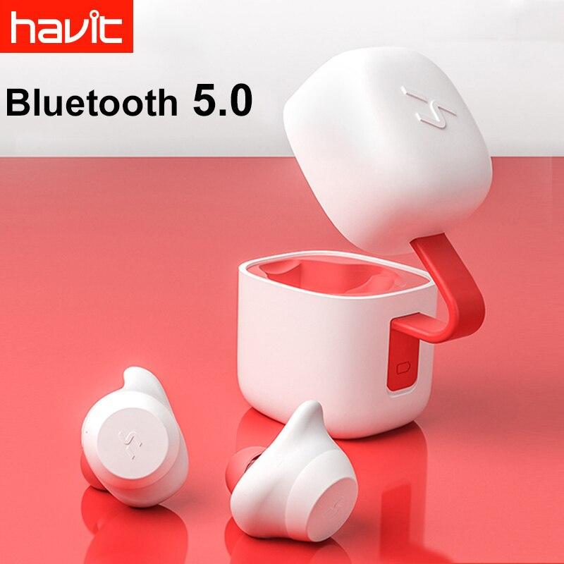 Havit-G1 Senza Fili di Bluetooth V5.0 Auricolare con microfono Auricolari Stereo di Sport Impermeabile Auricolare Con Il Mic di Ricarica Scatola di Mini Auricolari