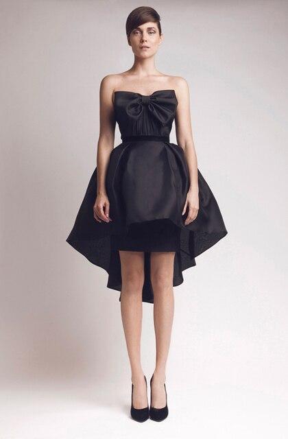 New Design Formal Dresses Black Satin Bow Strapless Hi Lo Short