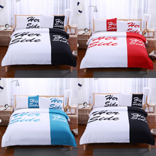 Couple Creative Bedding Sheet Set Microfiber Fabric Soft Bedclothes Duvet  Cover With Pillow Cases Twin/