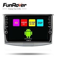 Funrover автомобильный мультимедийный плеер 2 din android 8,1 dvd-радио GPS для Passat B6 B7 CC Magotan Touran Разделение экран SIM 4G + 64G стерео