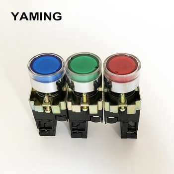 22mm Momentary XB2-BW3361 Round Push Button Switch with LED/Neon light 1NO 24V/AC220V/AC380V Green,Red,Yellow,Blue P134 5x black red green yellow blue 12mm waterproof momentary push button switch