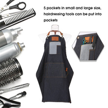 Salon Apron Barber-Shop Hair-Cloth Cutting with 5-Pockets Hairdressing Dyeing Black Jean