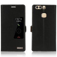 Genuine Natural Cow Cowhide Leather Case Smart View Window For Huawei P9 Plus Magnetic Filp Phone