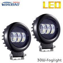 HUJO Car Fog light 30W LED Circular Square Work Lamp for SUV JEEP Combo Beam Offroad Vehicles Spotlight Driving Lighting