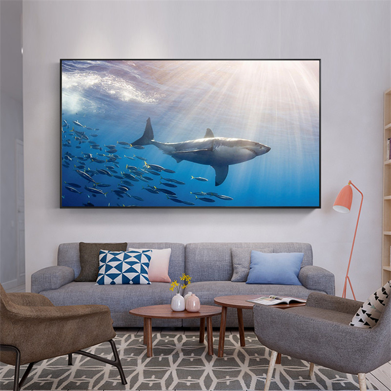 Sea Animal Fish Goldfish Dolphin Shark Poster Wall Pictures for Living Room Decoration Maison Canvas Painting Cuadros Decoracion
