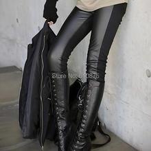 Женские осенние брюки средней эластичности с талией размера плюс Pu, бархатные плотные леггинсы, женские зимние теплые брюки-карандаш