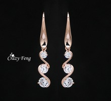 Free Shipping Retail Jewelry Accessories Long Earrings for Women   Wave Dangle Earring Cz Crystal Drop Earring