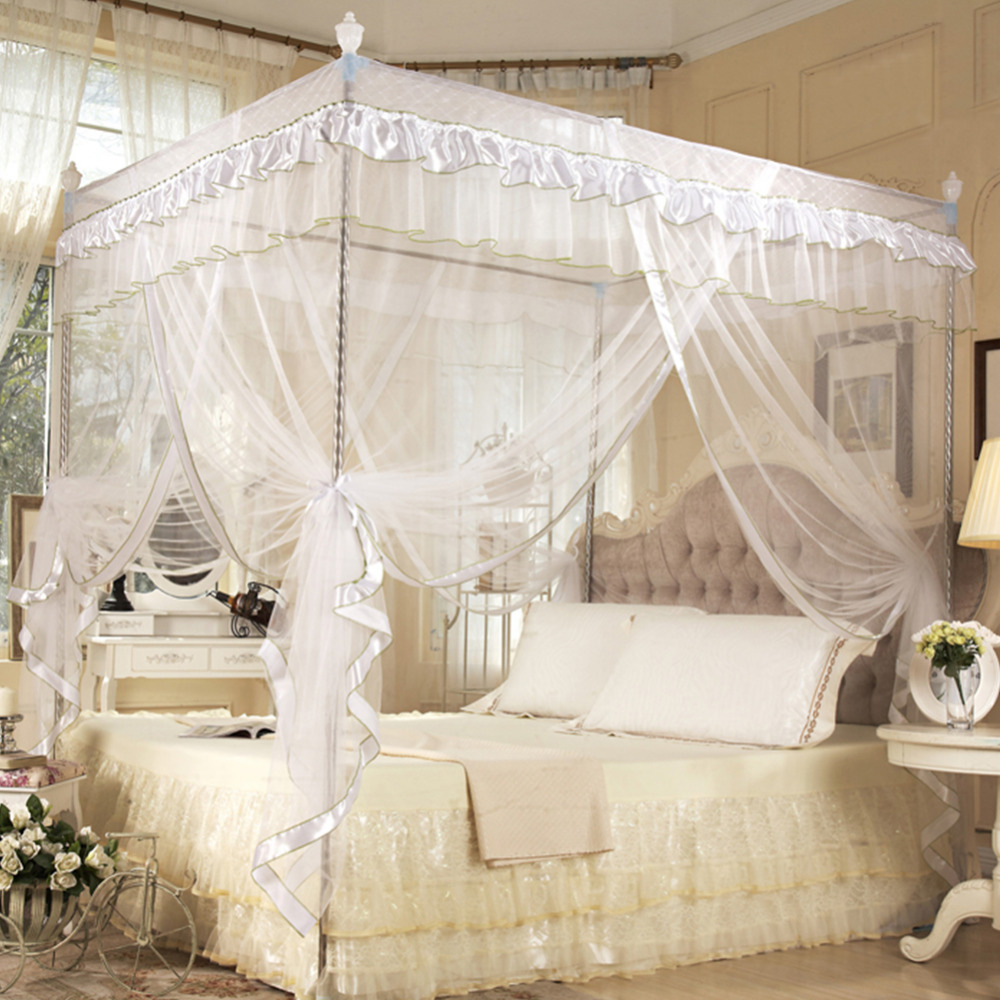 Luxury Princess Mosquito Net Four Corner Post Bed Curtain Canopy Netting Bedding Three Side Openings Moustiquaire & Online Get Cheap Three Canopy -Aliexpress.com | Alibaba Group