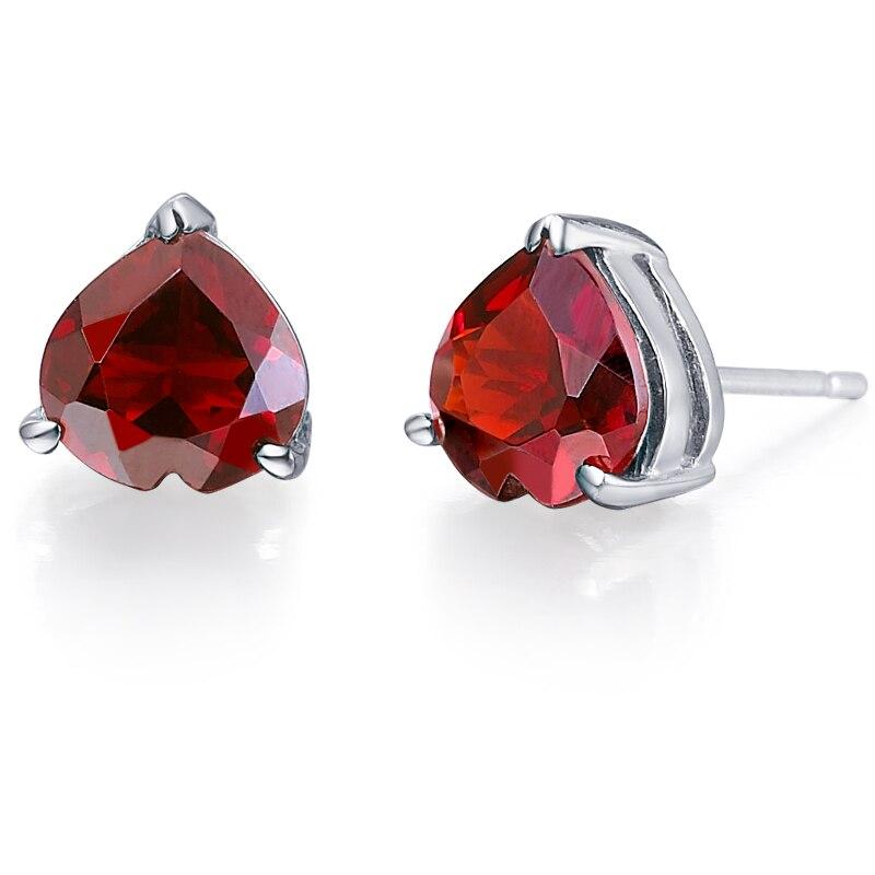 Naturel grenat boucle d'oreille Stud 925 en argent Sterling femme Fine élégante rouge coeur gemme bijoux fille pierre de naissance cadeau de noël SE0013G