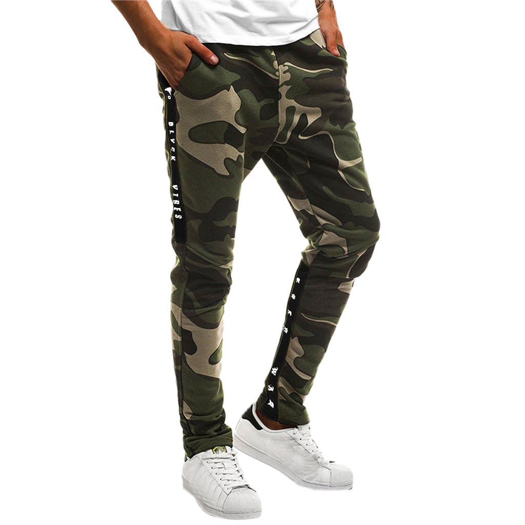 2019 Men Pants Casual Men Splicing Camouflage Overalls Casual Pocket Sport Work Casual Trouser Pants Hot Sale W308