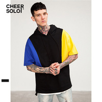 CheerSolo Streetwear Cotton Mens T Shirts Fashion 2019 Color Block Rock T Shirt With Hood Urban Streetwear Summer Top Clothes
