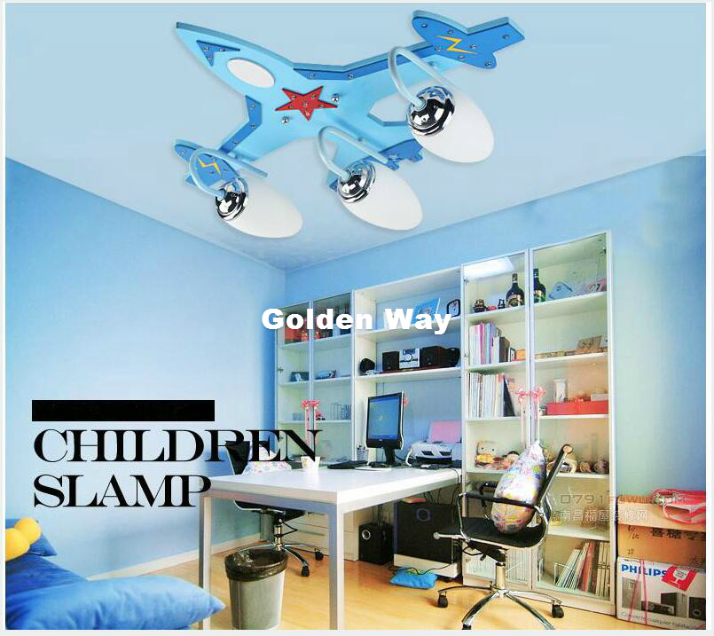 Home Decorative Children Bedroom Ceiling Light Smart Plane Design Eye-protective LED AC Ceiling Lamp Blue Plane Decorative Light
