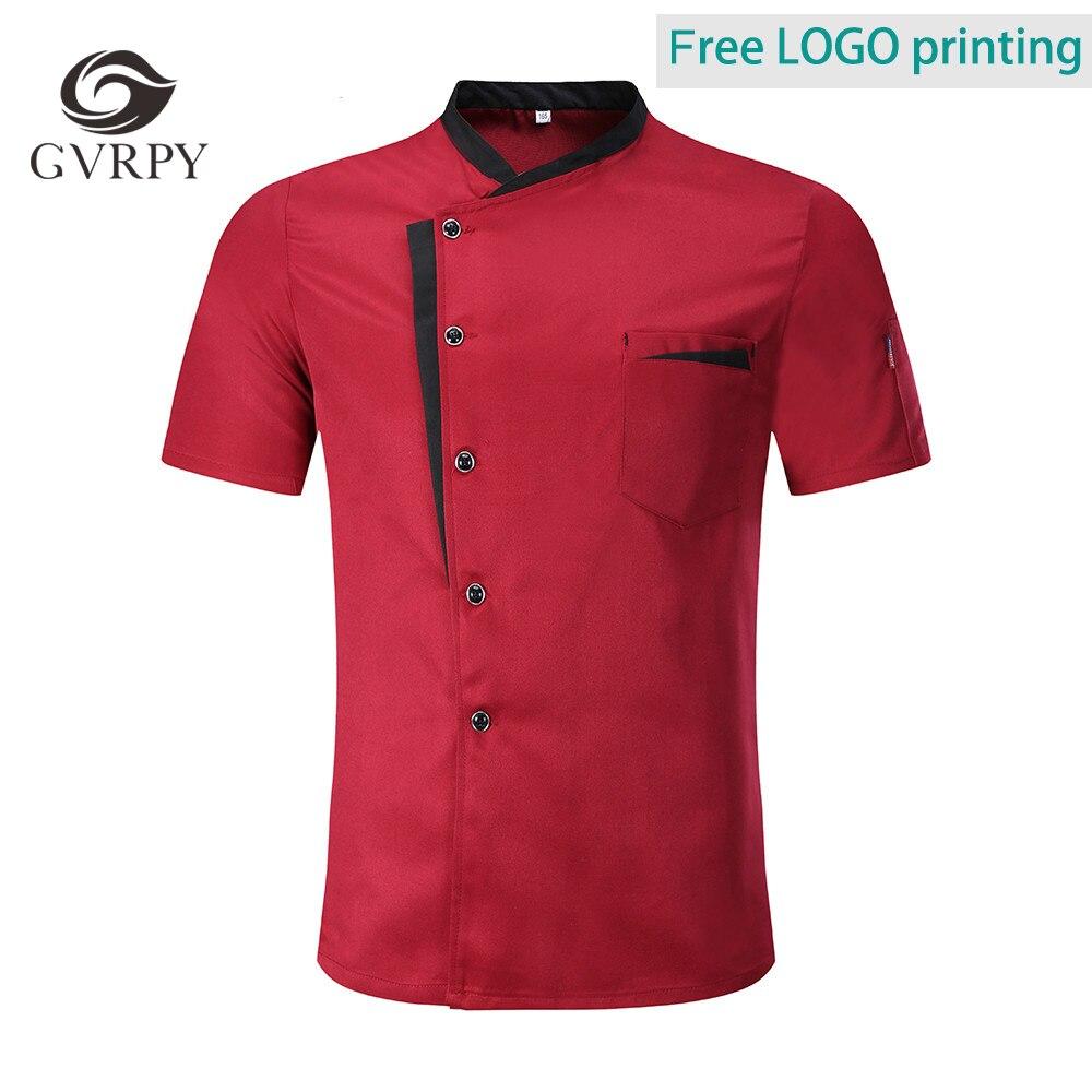 Free Logo Printing 14 Color Short Sleeve Chef Jacket Kitchen Restaurant Uniform Food Service Bakery Barber Shop Unisex Shirt