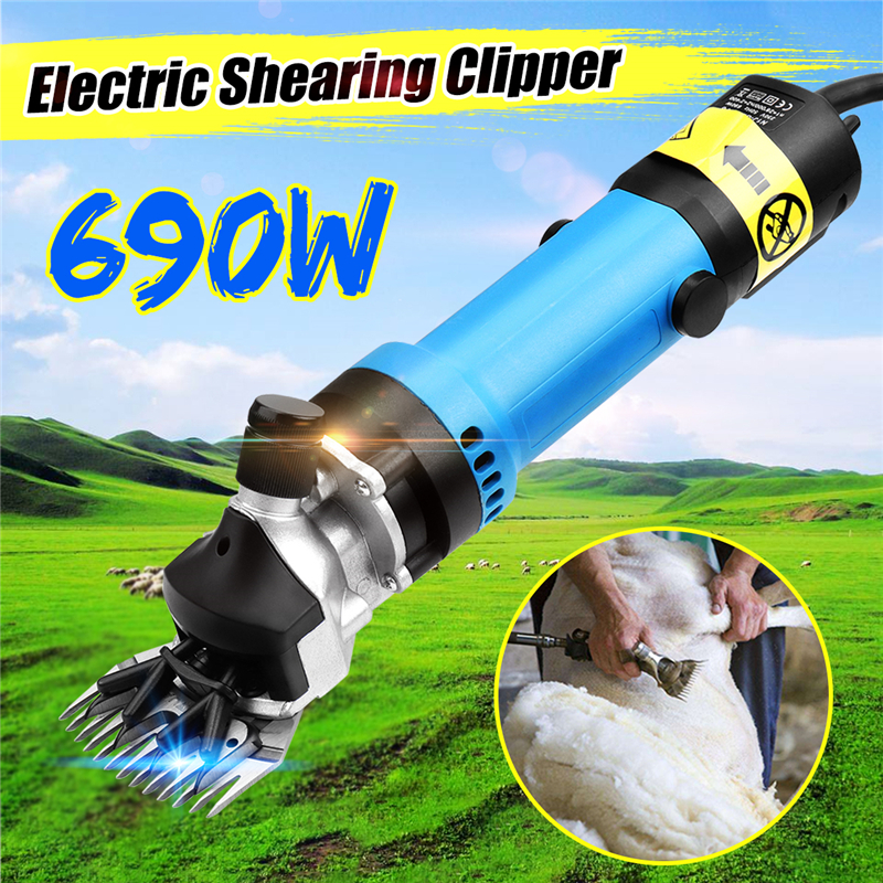 Doersupp A Set Blue 220V AU Plug 690W Electirc Sheep Shearing Clipper Scissors Shears Cutter Goat Clipper With Carrying Case new 680w sheep wool clipper electric sheep goats shearing clipper shears 1 set 13 straight tooth blade comb