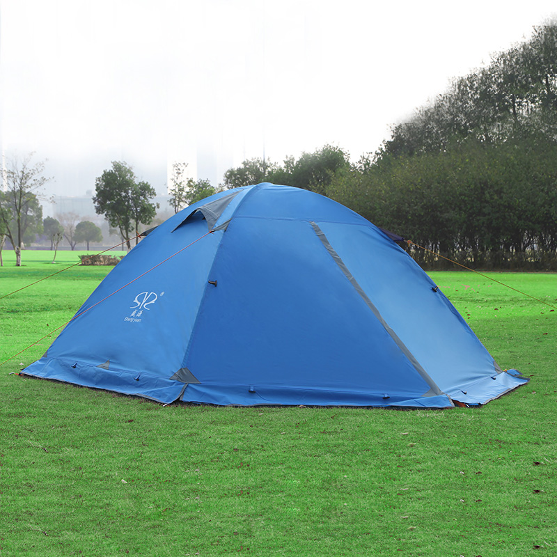 Outdoor ultra light double layer aluminum pole tent 2 people person double door winter anti-storm rain snow wild camping tents waterproof tourist tents 2 person outdoor camping equipment double layer dome aluminum pole camping tent with snow skirt