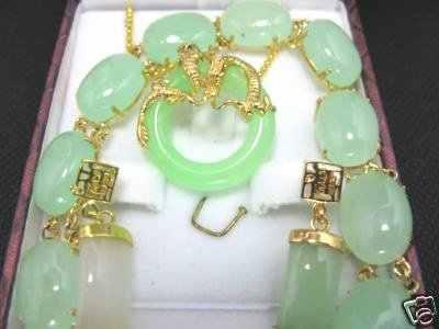 HOT! Asiático Verde pedra Colar pingente brinco Pulseira set Maravilhoso Nobreza Belas Casamento Jóias Sorte 925 de prata das Mulheres