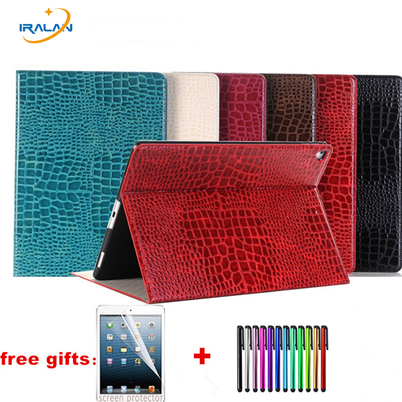 for iPad Pro 12.9 2017 A1670/A1671 Crocodile pattern flip leather case with wallet Card Slots Flip Folio Stand Cover+film+stylus leather case flip cover for letv leeco le 2 le 2 pro black