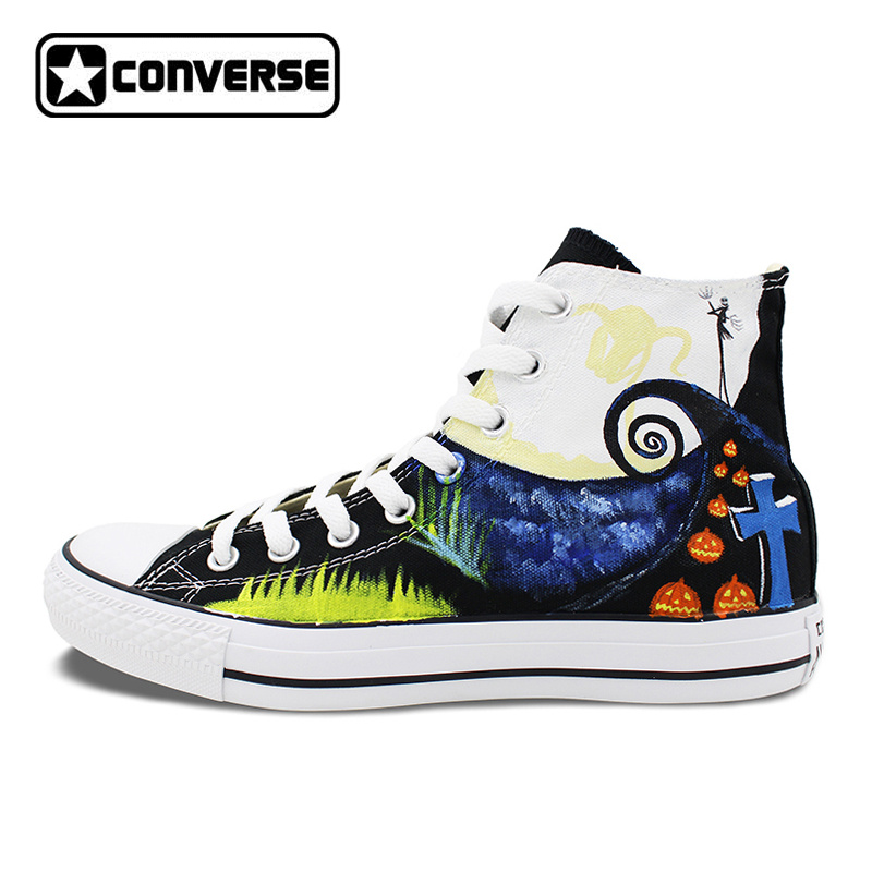 Design Custom Men Women Shoes Canvas Sneakers The Nightmare Before Christmas Black Classic Converse Brand Skateboarding Shoes