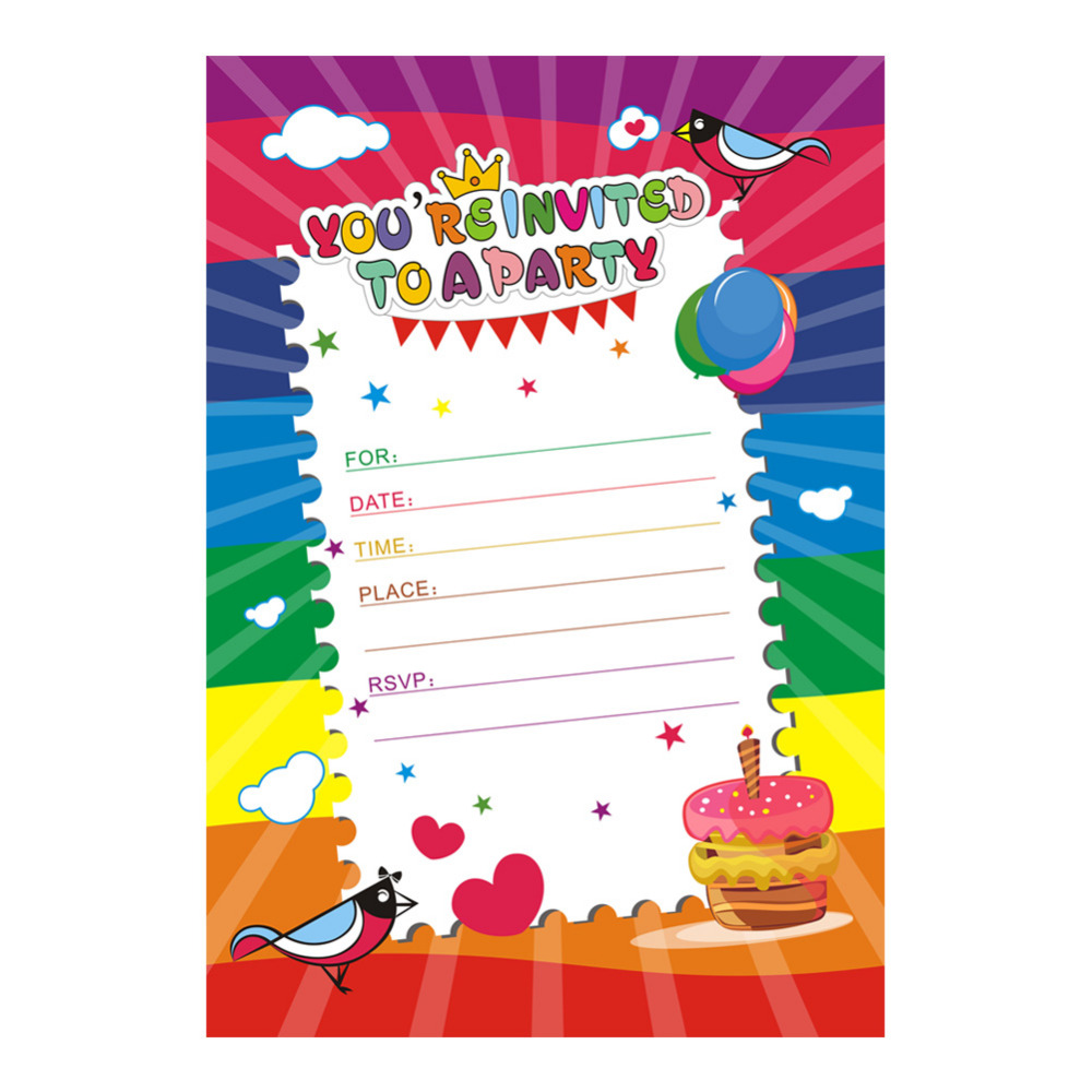 OurWarm 50pcs Happy Birthday Invitation Card with Envelope Rainbow ...
