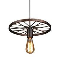 Retro ferro luz da lâmpada industrial nordic metal roda luzes lâmpada pendurada e27 iluminação interior luz de teto decoração casa