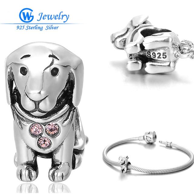 Gw fine jewelry nuevos productos calientes para 2016 puppy dog charm plata 925 joyería adapta braclets alibaba sitio web rhinestone x212h10