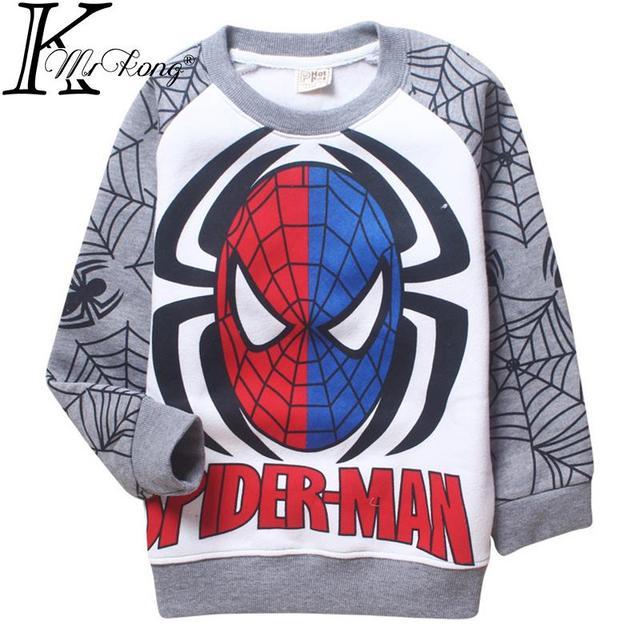 2015 Cartoon kids boy spiderman t shirt Sweatshirts camisetas y tops long sleeve cartoon sudadera boys clothing for 4-12 yrs boy
