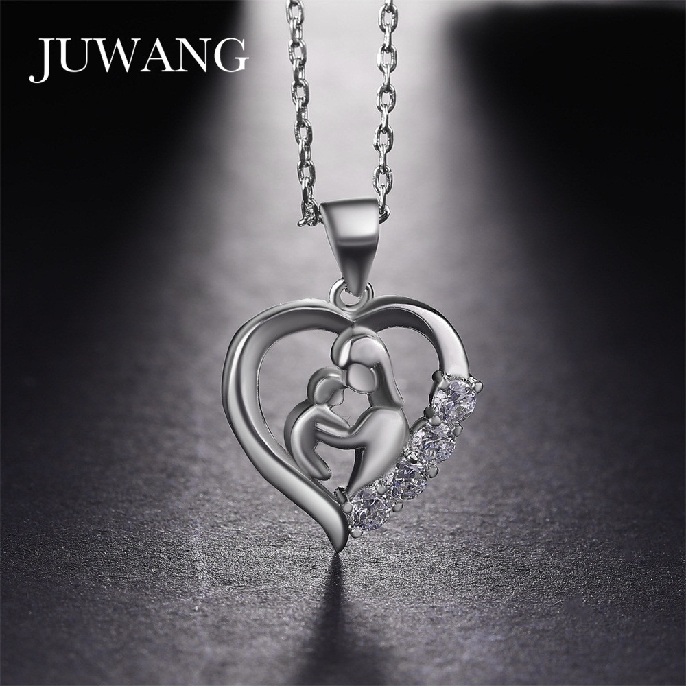JUWANG Mom and Baby Cubic Zirconia Copper Pendant Necklace Mothers Day Gift for Mother 3Colors Fashion Jewelry Wholesale