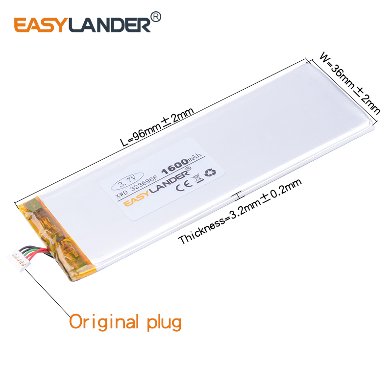 323696 3.7V 1600mAh Rechargeable li-Polymer Battery For china clone 4.7inch I6 6s MTK andorid phone PL323696 RNEW XWD 303696P