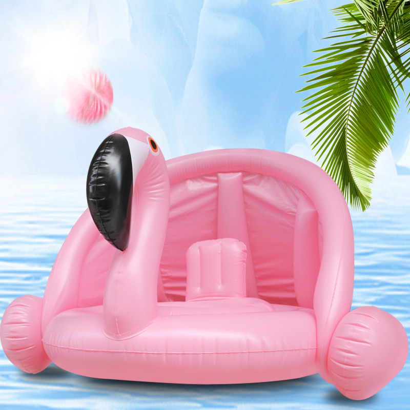 Baby Shade Swim Float Circle Ring Safe Inflatable Flamingo Baby Arm Rings Kids Swimming Seat With Sunshade Swimming Pool Floats