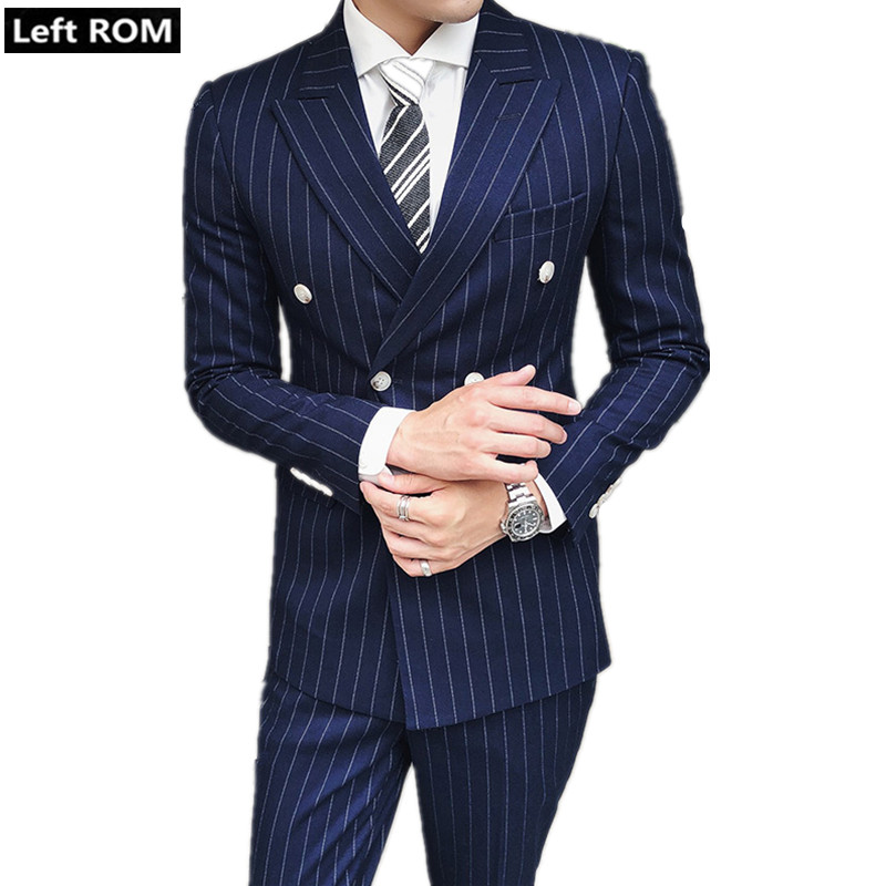 2018 New Men's Boutique Fashion Striped Formal Business Double breasted Suit Blazer / Groom Wedding Dress Blazer Men Casual Suit