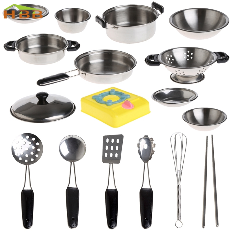 1Set Stainless Steel Pots Pans Cookware Miniature Toy Pretend Play For Kid educational playthings practice knick-knack #046