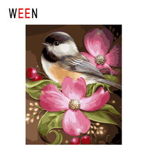 WEEN Lovel Bird Diy Painting By Numbers Animal Oil On Canvas Pink Flower Cuadros Decoracion Acrylic Wall Art Home Decor