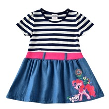 2019 New Summer Girls Dress Cotton Striped Short Sleeve Kids for Toddler Pony Cartoon Vestidos