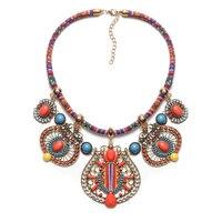 תליוני שרשרות בוהמיות אופנה נשים Boho מקסי קולר תכשיטים שבטיים אתני צווארון שרשרת חבל קולייר Femme אבזר