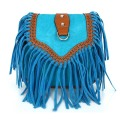 Fashion Women Faux Suede Fringe Tassels Crossbody Bag Shoulder Bags Female Sky blue
