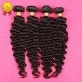 8 - 30 '' 7a malásia cabelo encaracolado 4 Pcs lot malásia onda profunda do cabelo virgem cabelo extensões de cabelo humano Curly Bundles 4 pçs/lote