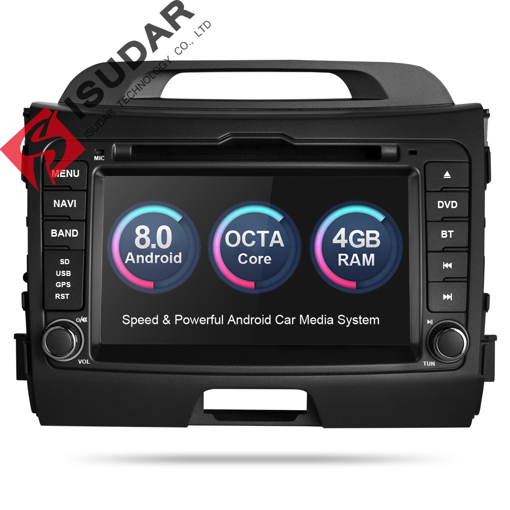 Isudar Car Multimedia Player dvd automotivo GPS 2 Din Android 8.0 For Kia/SPORTAGE 2010 Radio Rear View Camera Wifi DDR3 8 Core