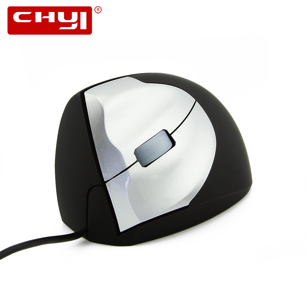 CHYI Left Hand Wired Mouse Optical Ergonomic 1600 DPI Wrist Healing Vertical Left-Handed Game Mice For Computer Laptop Desktop
